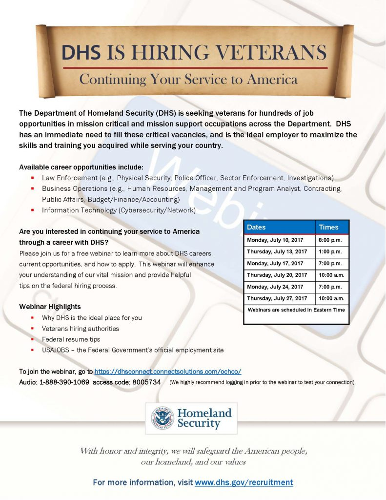DHS Is Hiring Veterans Webinar Schedule